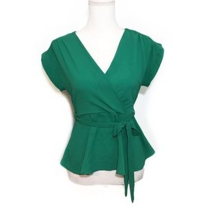 NWT Solid Green Surplice Faux Wrap Blouse Top Tie